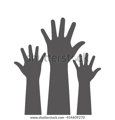 hands up vector silhouette,  isolated vector illustration - stock vector
