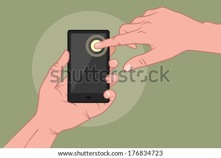 Hands using tablet