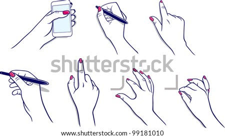 Hands using tablet & stylus - stock vector