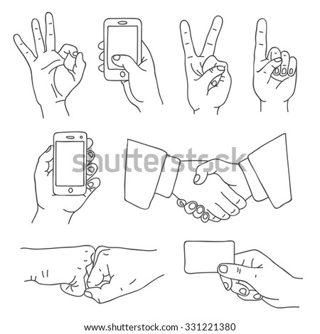 Hands. Vector icons, hand-drawn. - stock vector