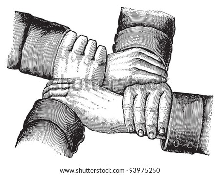 Hands / vintage illustration from Meyers Konversations-Lexikon 1897 - stock vector