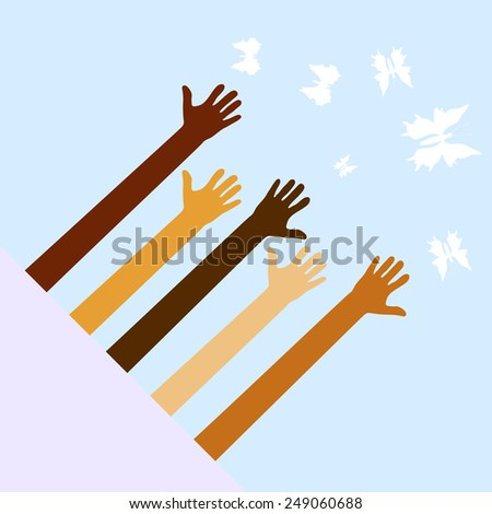 hands want to catch butterflies - stock vector