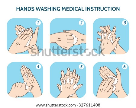 Hands washing medical instruction vector icons set. Water and clean, care hygiene illustration - stock vector