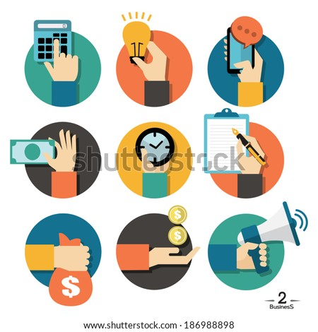 Hands with business object icons set, Flat Design Vector illustration - stock vector