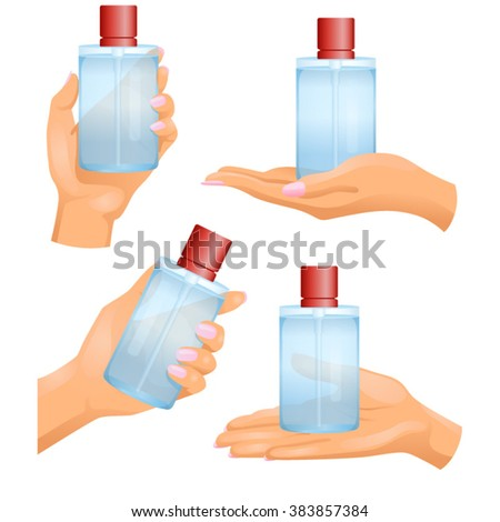 Hands with cosmetic bottle in them on white background / Four woman�s hands with plastic transparent cosmetic or perfume bottle