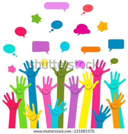 hands with happy faces and bubbles speech - stock vector