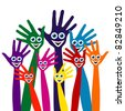 Hands with happy faces design. - stock photo