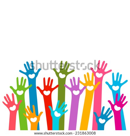 hands with hearts - stock vector