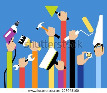 Hands with home repair diy renovation housework tools flat vector illustration - stock vector