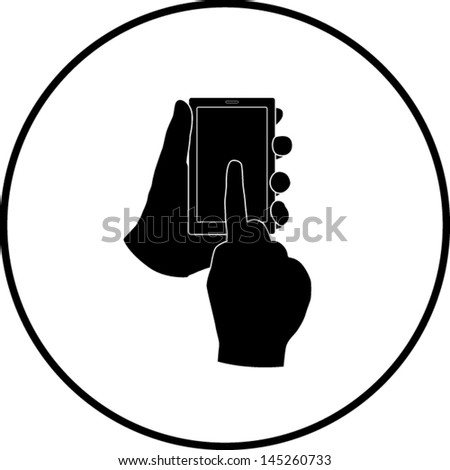 hands with mobile device