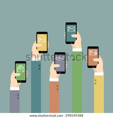 Hands with mobile phones. Illustration of Communication.  Vector illustration. - stock vector