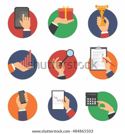 Hands with object icons set