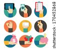 Hands with object icons set, Flat Design Vector illustration  - stock photo