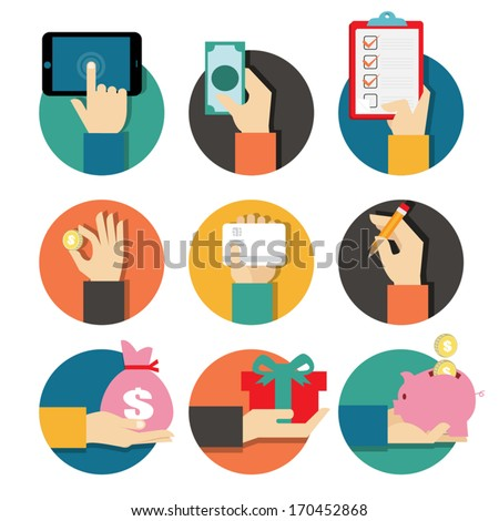 Hands with object icons set, Flat Design Vector illustration  - stock vector