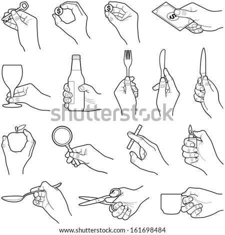 Hands with objects collection - vector illustration  - stock vector