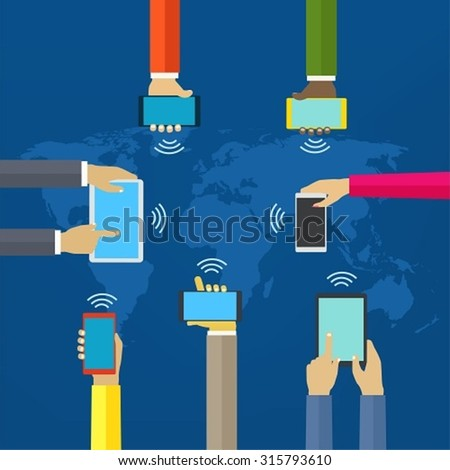 Hands with phones. Interaction hands using mobile and other digital devices. Concept worldwide network and mobile - stock vector