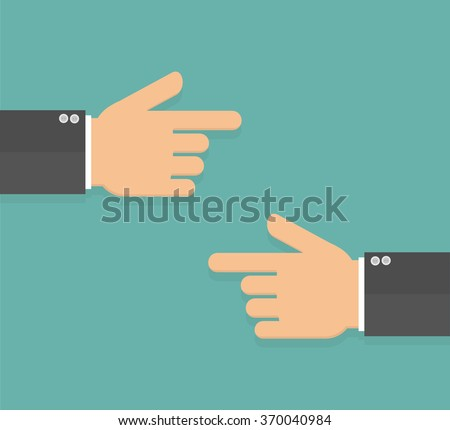 Hands with pointing fingers pointing to each other. Flat design - stock vector
