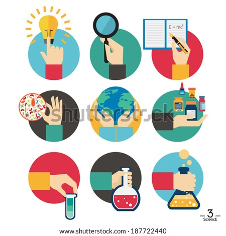 Hands with  science experiment object icons set, Flat Design Vector illustration - stock vector