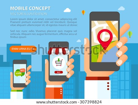 Hands with smartphones. Mobile applications concept. Flat design vector illustration - stock vector