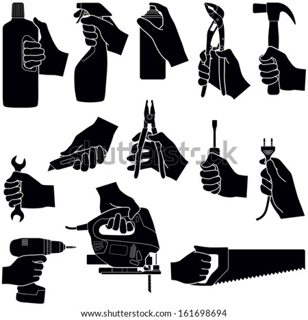 Hands with tools collection - vector silhouette illustration  - stock vector