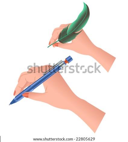 hands writing - stock vector