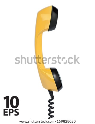 Handset of vintage telephone. Vector illustration - stock vector