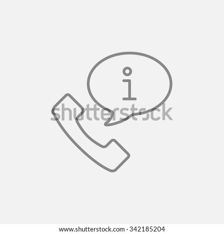 Handset with information sign line icon for web, mobile and infographics. Vector dark grey icon isolated on light grey background. - stock vector