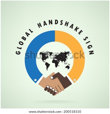 Handshake abstract sign vector design template. Business creative concept.vector illustration contains gradient mesh,credit :NASA - stock vector