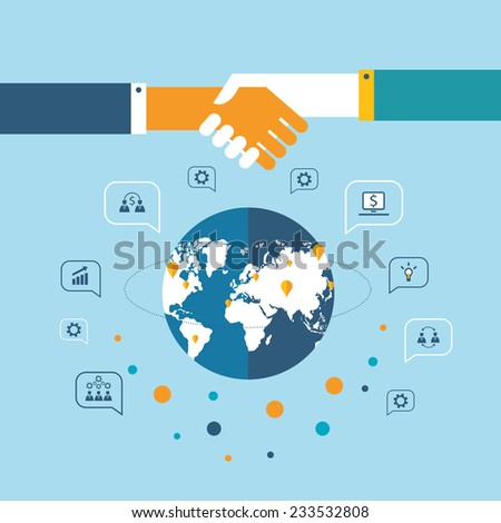 Handshake and business icons for web on world map background Successful business concept - stock vector