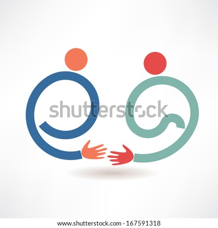 handshake and friendship icon - stock vector