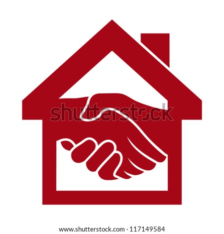 Handshake and successful real estate transactions - stock vector