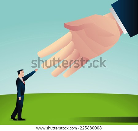 Handshake between a small businessman and some big shot businessman - stock vector