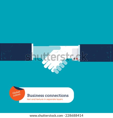 Handshake between two businessmen one of them keeping an ace up his sleeve. Vector illustration Eps10 file. Global colors. Text and Texture in separate layers. - stock vector