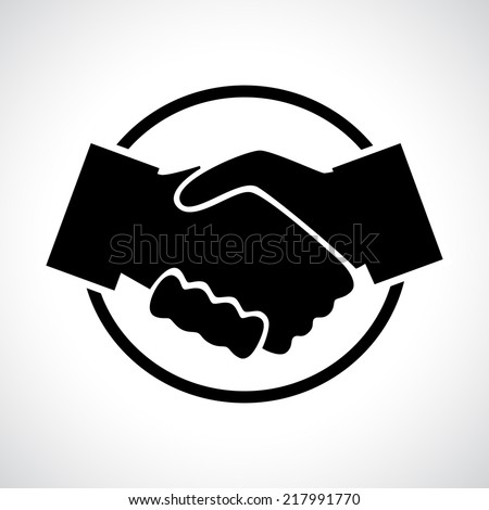 Handshake. Black flat icon in a circle. Business, agreement, meeting and congratulating concept. - stock vector