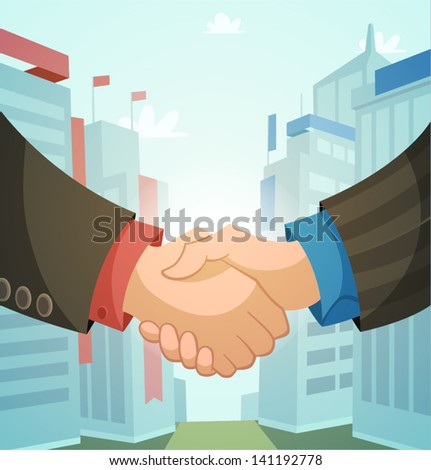 Handshake, business illustration - stock vector