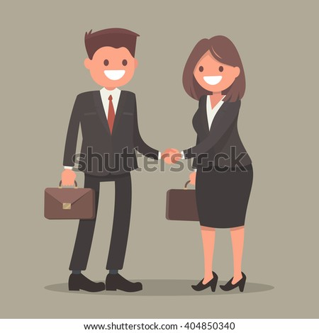 Handshake business man and business woman. Vector illustration - stock vector