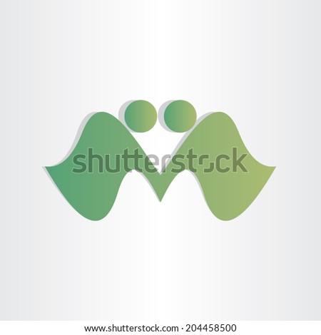handshake businessman agreement letter m abstract character design element - stock vector