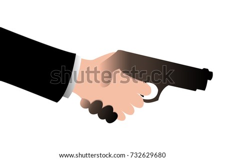 Handshake businessman with business partner connection while other people holding black gun in hand, blackmail business concept illustration.vector