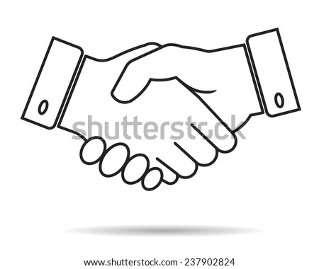 handshake contour icon, partnership, business finance concept - vector illustration fully editable, you can change form and color - stock vector