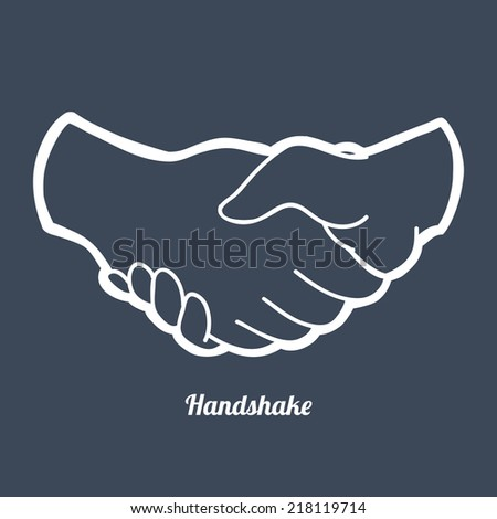 Handshake design   over blue background vector illustration