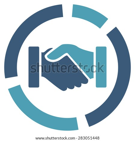 Handshake diagram icon from Business Bicolor Set. Vector style: bicolor flat symbol, cyan and blue colors, rounded angles, white background. - stock vector