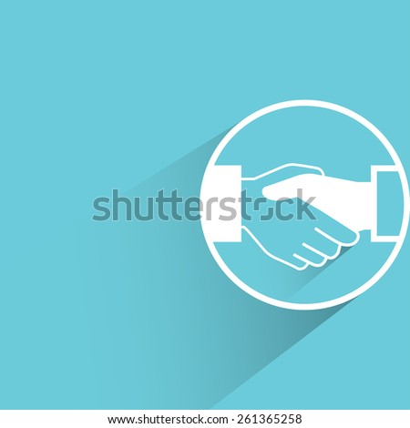 handshake, flat and shadow theme - stock vector