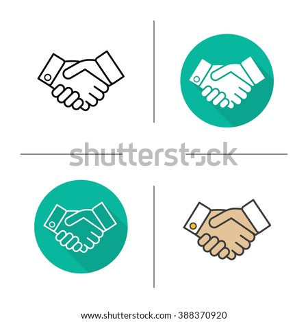 Handshake flat design, linear and color icons set. Business agreement. Partnership contour and long shadow symbols. Handshake logo concepts. Shaking hands isolated vector illustrations - stock vector