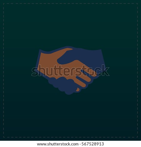 Handshake for business and finance. Color symbol icon on black background. Vector illustration