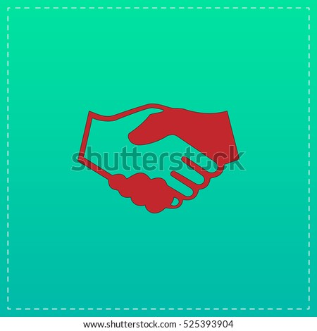 Handshake for business and finance. Red vector icon with black stroke