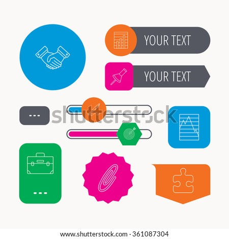 Handshake, graph charts and target icons. Puzzle, pushpin and safety pin linear signs. Briefcase and pen flat line icons. Web buttons and app menu navigation. - stock vector