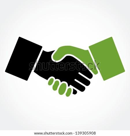 Handshake green (shaking hands) - stock vector