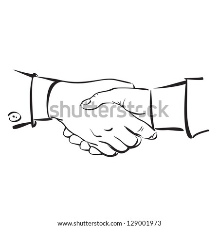 Handshake - hand drawn  vector illustration  isolated