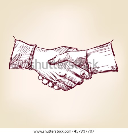 Handshake hand drawn vector llustration realistic sketch