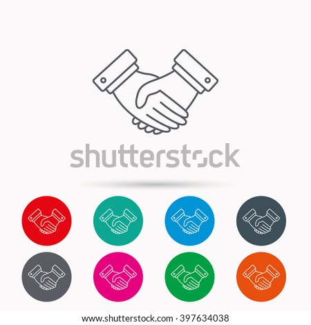 Handshake icon. Deal agreement sign. Business partnership symbol. Linear icons in circles on white background. - stock vector